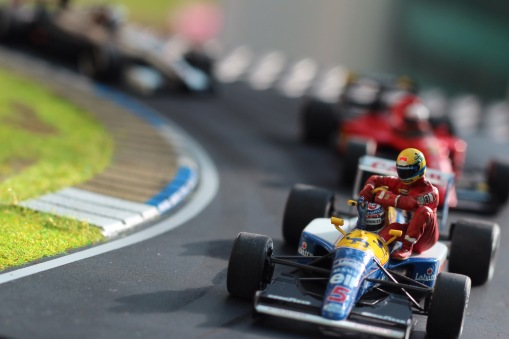 Nigel Mansell & Ayrton Senna, British Grand Prix 1991. Tameo Kit & Denizen figure, built by Bad Wolf Miniatures